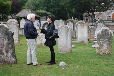Simon Davey interviewed in St Brelade's Churchyard, Jersey
